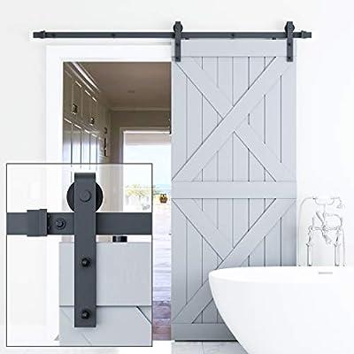 "Genius Iron 6.6FT Single Barn Door Hardware, Classic Design Standard Track with Upgraded Nylon Bearings, for 36in-40in Wide Sliding Door Panel, Easy Installation,""Basic J"""
