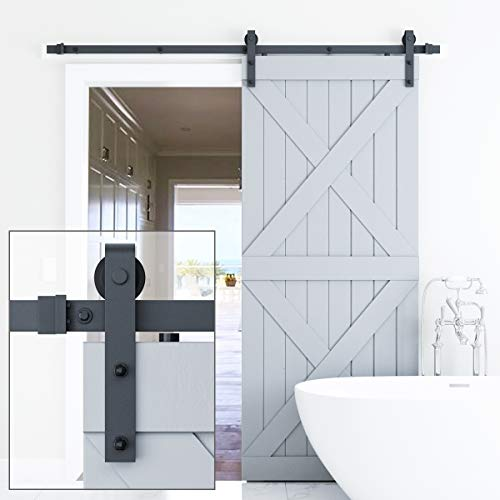 "Genius Iron 6.6FT Single Barn Door Hardware, Classic Design Standard Track with Upgraded Nylon Bearings, for 36in-40in Wide Sliding Door Panel, Easy Installation,""Basic J"