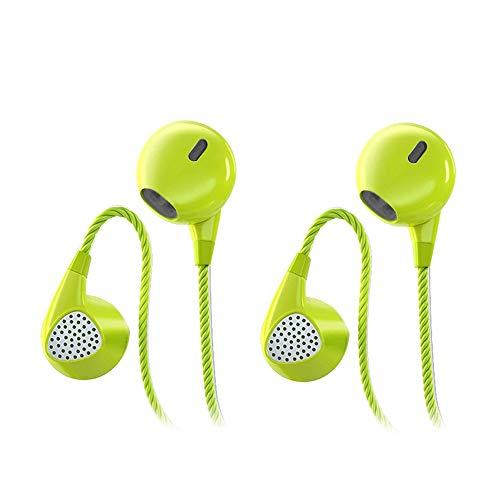 CBGGQ 2 Paia Auricolari stereo con bassi pesanti, con microfono e controllo del volume, cuffie in-ear con suono puro e bassi potenti, isolamento acustico senza grovigli, per iOS e Android(Verde)