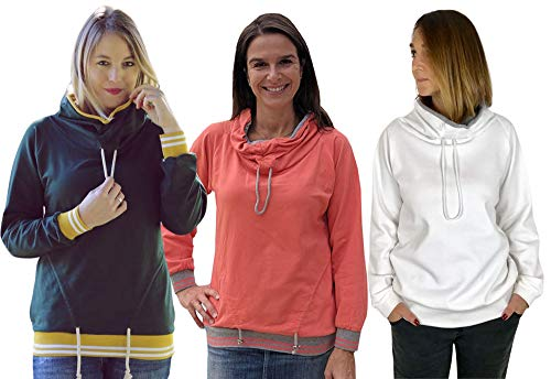 Zierstoff einfach nähen Papierschnittmuster, Sweatshirt mit raffiniertem Schalkragen Jamika, Gr. 158 bis Damengr. 46
