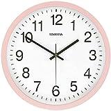 HDZW Reloj de pared simple de silencio creativo moderno y redondo nórdico gráfico de pared para oficina, dormitorio o mesa reloj de pared (color beige)-rosa