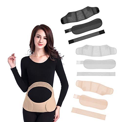 Paquete de 3 – cinturón de embarazo/maternidad, ombligo, ombligo, pélvica, espalda y soporte para bebé abdominal, para embarazadas. Blanco-Negro Faja para embarazada (grande)