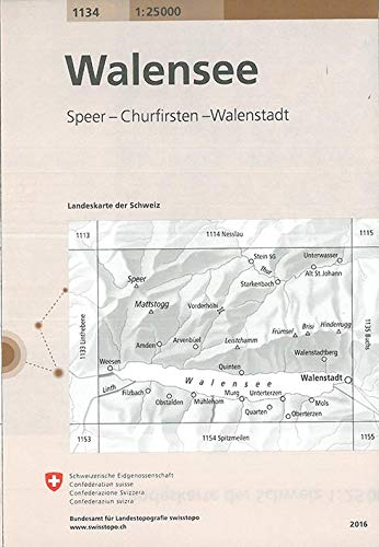 Swisstopo 1 : 25 000 Walensee: Speer - Churfirsten - Walenstadt
