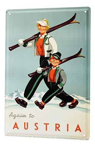 Blechschild Dekoschild Küche Garage Welt Reise Österreich Skigebiet Frau Junge Ski Wand Deko Schild 20X30 cm