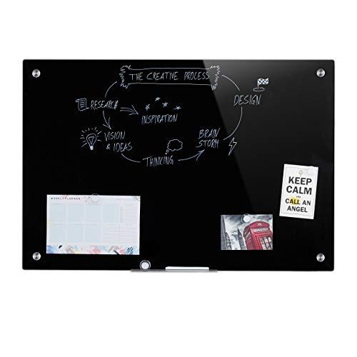 Relaxdays Pizarra magnética de cristal, se puede escribir, portalápices, cristal de seguridad...