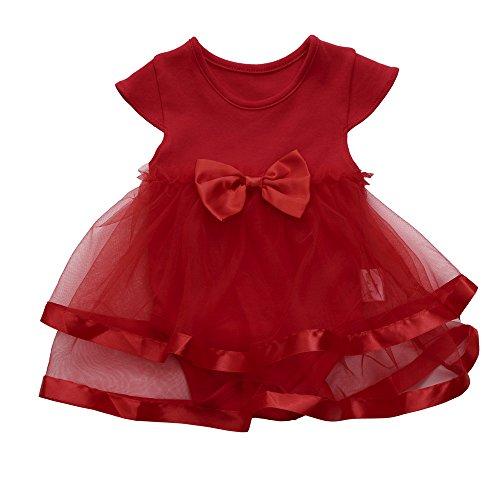 YWLINK MäDchen, Kleinkind KappenhüLse Sommer Mesh Patchwork Kleiden Party Hochzeit Abendkleid Tutu Bogen Kleidung Overall Prinzessin Spielanzug Kleid(Rot,12M)