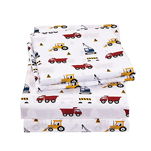 Viviland Kids Full Sheet Set, Super Soft Brushed Microfiber Bed Sheets for Boys and Girls, Toddlers Breathable Sheet and Pillowcase Set, Excavator Toys Theme
