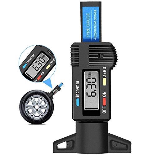 IQQI Digitale Reifenprofiltiefenmesser - 0-25.4Mm / 1INCH Tragbarer Profiltiefe Checker Reifen Tiefe Messen Mit LCD-Anzeige Für Auto-Sicherheit