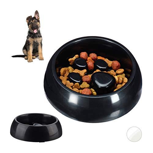 Relaxdays 2 x Anti Schling Napf, Futternapf für Hund & Katze, Langsames Fressen, 300 ml Fressnapf, spülmaschinenfest, schwarz