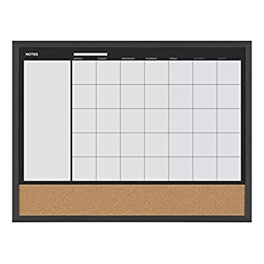 MasterVision 3-in-1 Calendar Planner Board, Black Frame, 18 x 24 Inches (MX04511161)