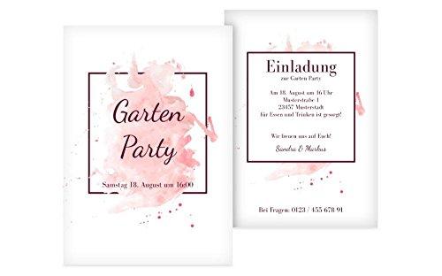 meine-kartenmanufaktur Weitere Anlässe | Einladung Gartenparty | 10 Karten (Format: 105.00x148.00mm) Color: Rosa
