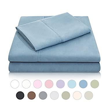 MALOUF Double Brushed Microfiber Super Soft Luxury Bed Sheet Set - Wrinkle Resistant - Queen Size - Pacific