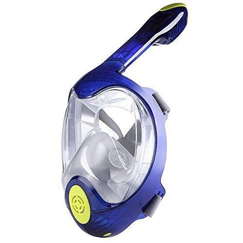 Wuxingqing - Gafas de natación para hombre, gafas de buceo y esnórquel, máscara de buceo para freediving y esnórquel, juego de esnórquel, resistente al agua y antiniebla, diseño de cara completa, 2 gafas de buceo S/M L/XL, color azul, tamaño large/extra-large