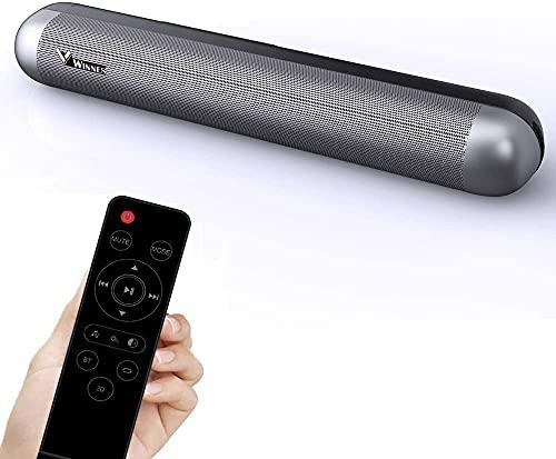 Soundbar für TV Geräte?Winnes Tragbare Soundbar mit subwoofer, Bluetooth 5.0, kabellos,105 dB, 3D-Surround-Sound, mit Fernbedienung, optische, Hilfsmittel, USB, 3 Equalizer-Modi