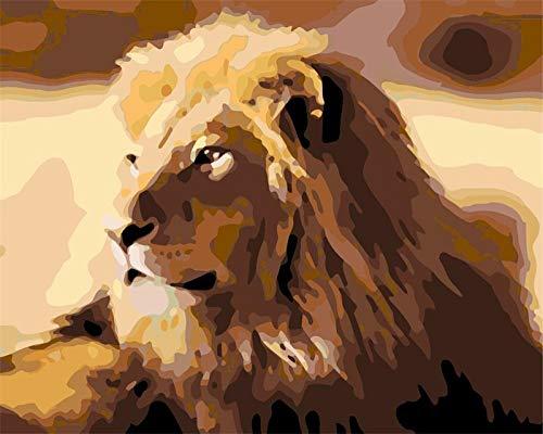GenericBrands DIY Pintura al óleo Lioncanvas Pintura por números para Adultos niños Principiantes sin Marco para decoración del hogar, 16X20 Pulgadas
