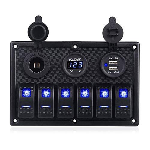 Relé de interruptor automotriz Panel de interruptores de barco Panel de interruptores de automóviles Impermeable Voltímetro Digital Doble Puerto USB 12V Combinación Combinación Marina LED Rock