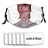 David Bowie Aladdin Sane Breathable Dustproof Mouth Mask Face Cover Mask with 6 Filter One Size