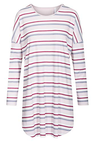 Rösch Damen Nachthemd Langarm Bigshirt im Ringeldruck Lady, Smart Casual, 1193650 40 Ringlet Multicolor