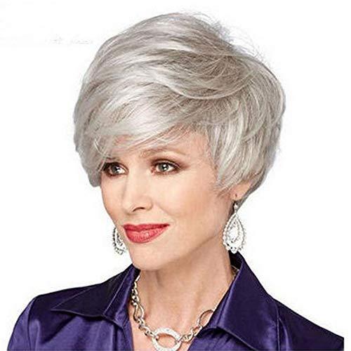 Pelucas DKEE Peluca de Europa y América peluca señoras de plata de la pendiente Corto Rizado 28 Cm