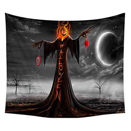 Huacat Wandteppich Halloween Horror Kürbis Schädel Wanddekor Wohnaccessoires Deko Themen Druck Stoff Wand Hängen Tapisserie Party Dekorationen