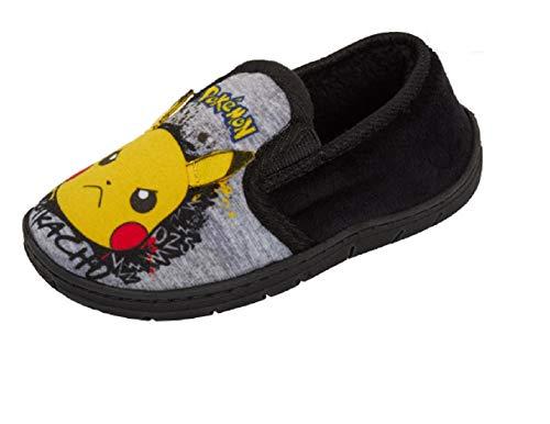 Pantoufles pour garçons, avec personnages, tailles 24, 25, 26,5, 28, 29, 30,5, 31,5, 32, pantoufles confortables de type mules, idéales pour la maison - Noir - Pokémon noir et gris., 25 EU