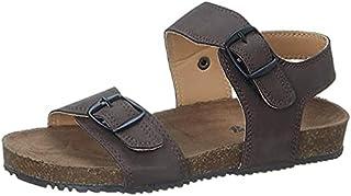 Skippy Adjustable Buckle Strap Open Toe Sandals for Boys - Brown, 29 EU