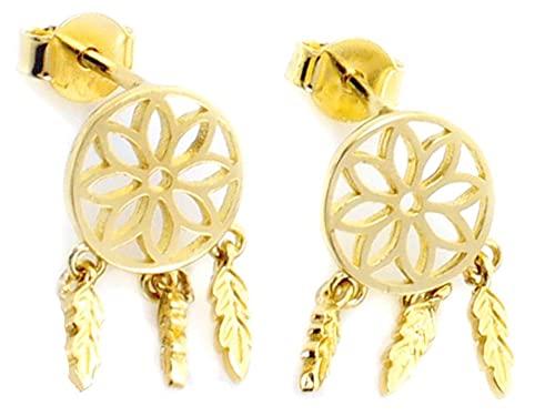 Pendientes para mujer, diseño de atrapasueños, color dorado
