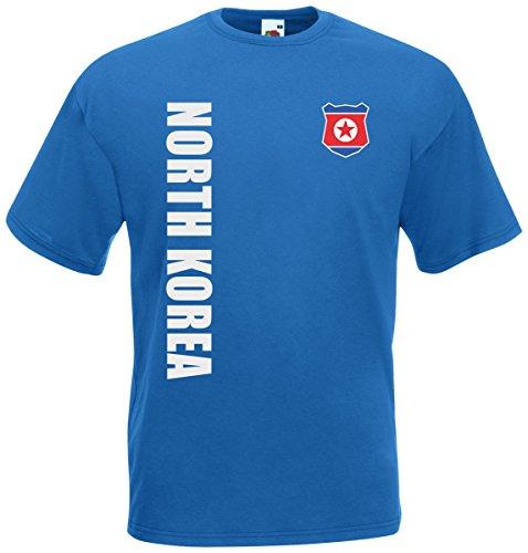 Nordkorea North Korea T-Shirt Trikot Wunschname Wunschnummer (Royalblau, XL)
