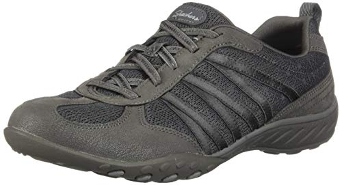 Skechers Breathe-Easy-Be-Relaxed, Zapatillas sin Cordones para Mujer, Gris (Charcoal Micro Leather/Mesh/Gray Trim Ccl), 3 EU