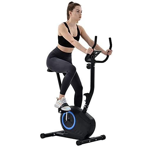 Gona Hometrainer - Bicicleta estática con sensores de pulso, 8 niveles de resistencia, 3,5 kg de masa oscilante, sillín ajustable, 120 kg de carga