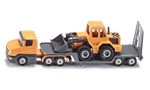 SIKU 1616, Tieflader mit Frontlader, Metall/Kunststoff, Orange, Klappbare Heckklappe, Abkuppelbar