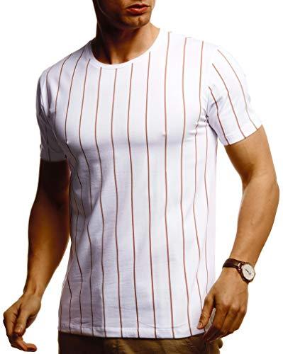 Leif Nelson Herren Sommer T-Shirt Rundhals Ausschnitt Slim Fit Baumwolle-Anteil Cooles Basic Männer T-Shirt Crew Neck Jungen Kurzarmshirt O-Neck Kurzarm Lang LN55050 Weiss Large