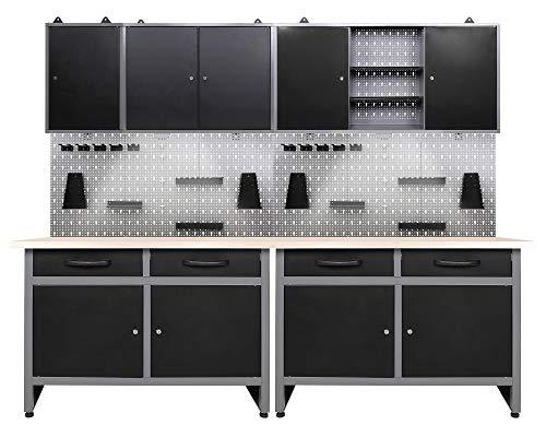 Ondis24 Werkstatteinrichtung 240 cm Werkstattset 7-teilig, Metall Werkbank & Werkzeugschrank Hängeschrank, Werkzeugwand Lochwand mit Hakenset, 2 x LED Lampe