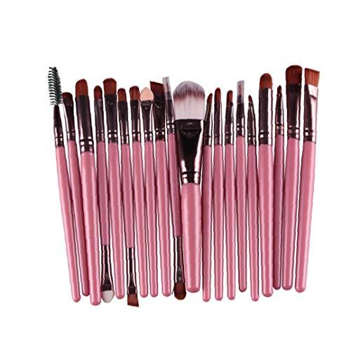 Ohomr Herramientas del Maquillaje 20PCS cosmético del Cepillo del Sistema de Cepillo Profesional Blender Fundación Polvo Brocha Pincel de Labios de Belleza Cuidado (Rosa)