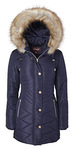 Women Longer Length Plush Lined Quilted Winter Puffer Coat Zip-Off Fur Trim Hood - Stormy Night (Medium)