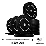 Rep Bumper Plates - 370 lb Set with 20kg Sabre Barbell
