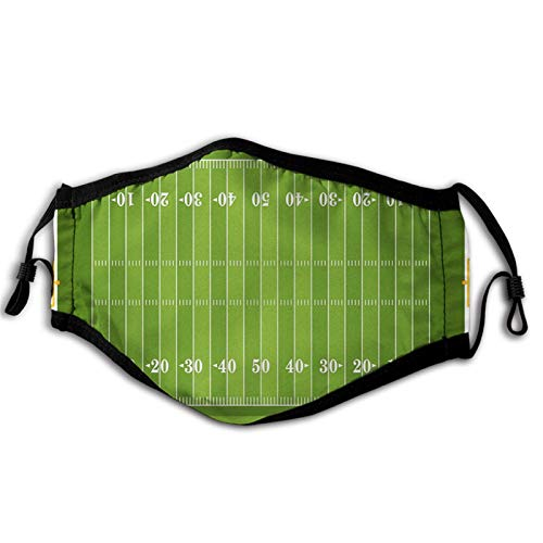 Football, Sports Field in Green Gridiron Yard Competitive Games College Teamwork Superbowl,Green White Mouth Cover for Women,Face Mask Reusable Washable Cloth for Men