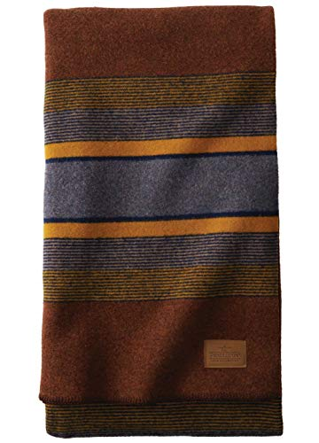 Pendleton Yakima Camp Thick Warm Wool Indoor Outdoor Striped Throw Blanket, Red Mountain, Twin Size