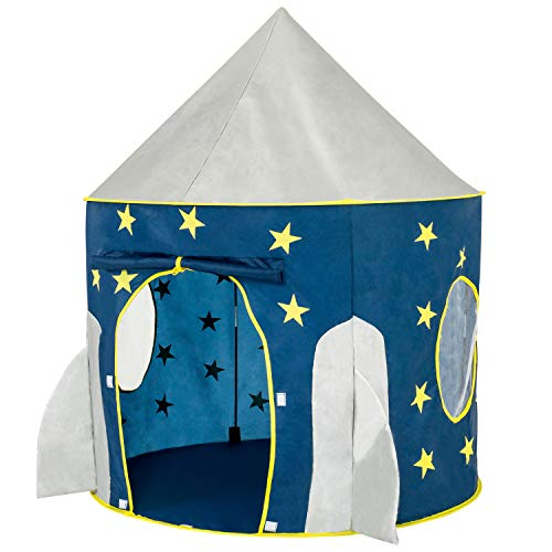 FoxPrint Rocket Ship Tent - Space Themed Pretend Play Tent - Space Play House - Spaceship Tent For Kids - Foldable Pop Up Star Play Tent Blue
