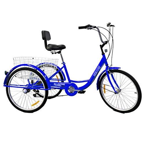 M-YN Triciclo Adulto Triciclo para Adultos 7 Velocidad Tres Ruedas Bicicleta de 24 Pulgadas Adultos Trikes para Personas Mayores con Cesta de Compras Ejercicio Triciclos de Mujeres para Hombre