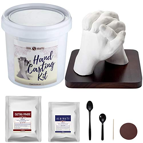 Hands Casting Kit   DIY Plaster Statue Molding Kit   Hand Mold Kit for Couples   Anniversary Gifts for Men, Women   Wedding Gifts   Romantic Gifts   Wooden Mahogany Base   Birthday Gifts for Husband