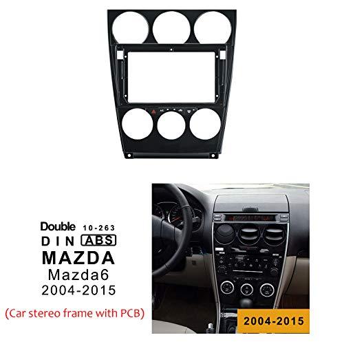 LEXXSON Mazda 6 Radio doppel din radio Einbaurahmen mit PCB - Radioeinbaublende für Autoradio 9 Zoll für Mazda 6 radioblende (Baujahr 2004-2015)