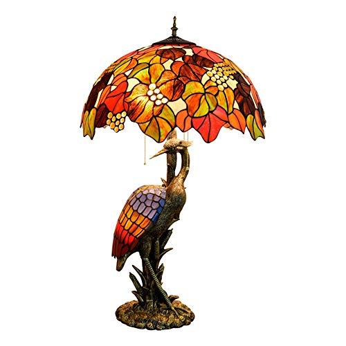 LFK Lámpara de mesa estilo Tiffany de estilo europeo retro creativo, para sala de estar, restaurante, hotel, decoración de lámpara, festiva, uva, grulla de mesa, 50 x 85 cm