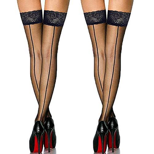 Oberschenkelhohe Strümpfe mit Spitze, Vintage-Stil, Nylon, mit Rückennaht, für Damen, Strumpfgürtel (2 Stück, schwarz)
