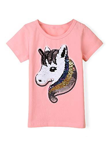 Bricnat Mädchen T-Shirt Wende Pailletten Einhorn Kurzarm Tunika Bluse Rundhals Top Sommer Casual Rosa 120