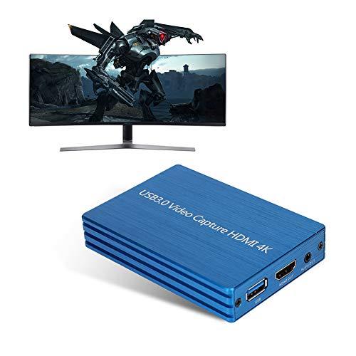 Tarjeta de Captura de Video, 4Kx2K HDMI a USB3.0 Grabadora de Tarjeta de Captura de Video HD para Transmisión de Juegos/Video en Vivo, Soporte USB3.0, Velocidad de 300-350mb/s, Compatible con USB2.0