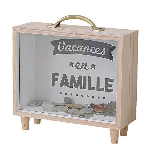 OurLeeme Caja de Ahorro de Dinero, Marco de Madera Moneda de Cristal Transparente Caja de Ahorro de Dinero Caja de Moneda Profunda para niños Adultos Familiares