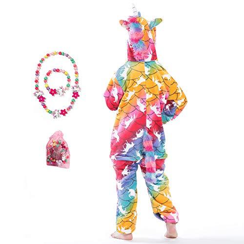 LINKE - Tuta per ragazze, in morbido peluche a forma di unicorno, ideale come regalo, con braccialetto e collana colorati White Pegasus 13-14 Anni