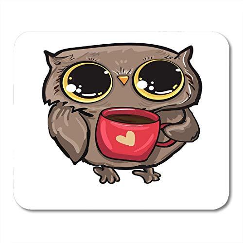 Spiel Maus Pad,Mausmatte,Gaming Mauspad,Mausunterlage,Bunte Cartoon-Eule,Die Kaffee-Vogel-Gelbe Tasse-Schnabel-Matten-Mäuse-Mousepad Für Büro-Haupt-Laptop-Computer-Pc Trinkt