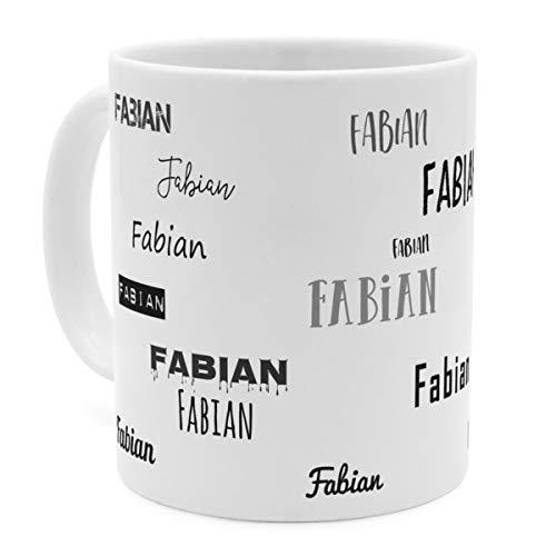 printplanet Tasse mit Namen Fabian - Motiv Schriftarten Sammlung - Namenstasse, Kaffeebecher, Mug, Becher, Kaffeetasse - Farbe Weiß